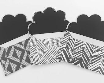 Monochrome, geometric, mini envelopes,