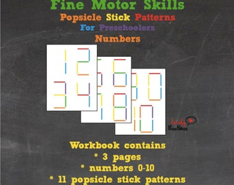 Popsicle Stick Patterns   Numbers  0-10   Printable PDF   INSTANT DOWNLOAD   Preschool   Kindergarten   Montessori inspired   Craft sticks