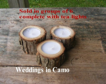 6 RUSTIC wooden candles with tea lights COUNTRY RUSTIC
