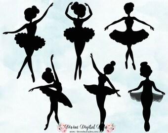 Ballerina Silhouettes | Tutu Dance Ballet | Clipart Instant Download