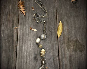 Skull, pearls & tassel necklace, vintage upcycled assemblage mixed metals, chunky old pearls, gothic glam Halloween necklace