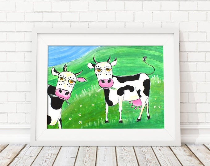 Cows - graphic acrylic painting on paper