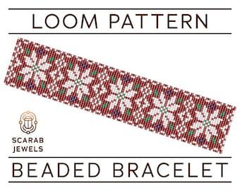Christmas Nordic Pattern | Loom Beading Bracelet | Cuff Bead Pattern | Miyuki Delica | PDF Instant Download
