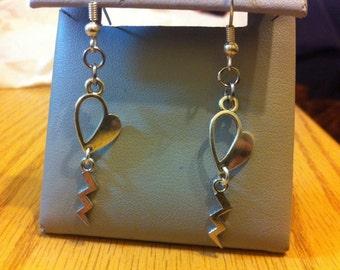 Heart halfsies earrings with lightning bolt