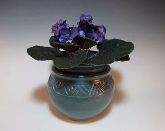 African Violet Double Pot Planter Large Flower Pot Garden Pot Handmade Blue Carved - In Stock