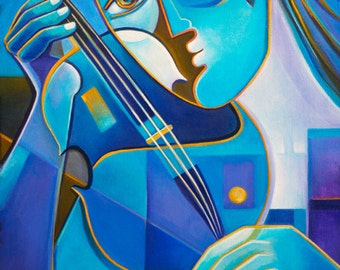 Cubism Art Original Oil Painting on canvas Abstract Artwork Blue Violinist by Marlina Vera Modern Contemporary Gallery Picasso style