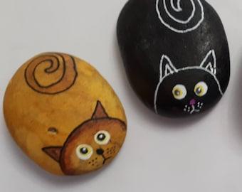 Personalised Cat painted rocks