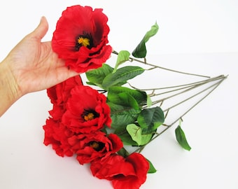 24 red poppies artificial flowers silk poppy 26 flower wedding 7 silk poppies artificial flowers big red with black yellow center poppy flower floral hair accessories poppy with leaves supplies faux fake mightylinksfo Choice Image