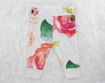 Floral //Organic baby leggings, baby leggings, baby pants, newborn leggings, newborn pants toddler leggings, toddler pants