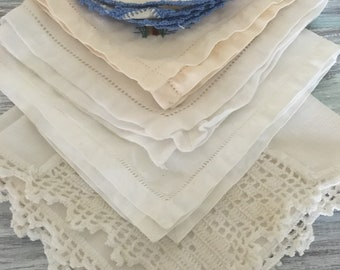Vintage Hankies | Handkerchiefs | Set of 5 Vintage Hankies | Something Blue | Wedding Handkerchiefs