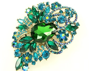 Green Blue Brooch, Emerald Green Rhinestone Gold, Teal Blue Green Broach, Jewelry Component, DIY Craft Project Embellishment