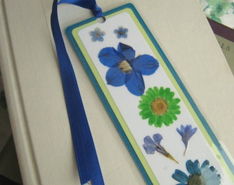 Pressed Flower Bookmark / Blue Teal and Lime Green / Laminated Bookmark