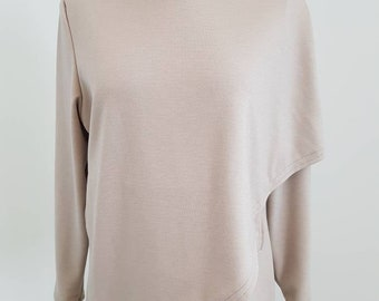 Woman's Capelet crossover asymmetric hoodie taupe hoody warm size medium