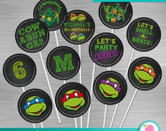 Ninja Turtles Cupcake Toppers, Ninja Turtles Birthday, Ninja Turtles Party, Ninja Turtles Party Circles, TMNT Toppers