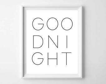 Good Night PRINTABLE - Modern Nursery Print - Modern Nursery Decor - Kids Room Decor - Good Night Wall Art - Nursery Wall Art
