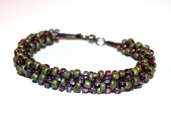 Green and Purple  Bracelet  beaded bracelet