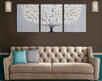 Extra Large Wall Art Paintings On Canvas Original Artwork Triptych Tree In  Neutral Gray And Brown