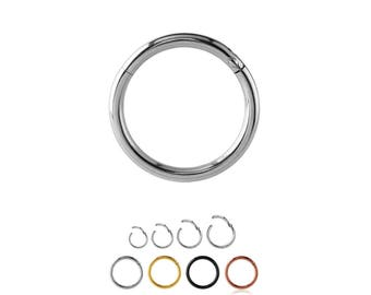"316L Surgical Steel Septum Clicker Cartilage Helix Daith Hoop Nose Ring Hinged 1/4"", 9/32"" 5/16"", 3/8"" Black, Gold, Rose Gold, Steel 18G 20G"