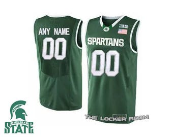 Men's NCAA Custom Replica Michigan State Green Basketball Jersey