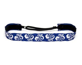 Adjustable Non-Slip Headband Blue Floral