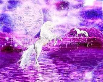 Unicorn moonlight print, fantasy, Moon,