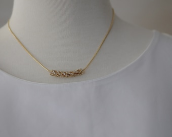 Crystal charm Necklace, Gold Chain and crystal necklace, Gift for her, Short necklace