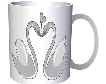 Swans Birds Love Heart 11oz Mug o122