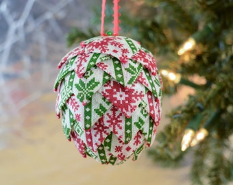Ugly Sweater Christmas Ornament Nordic design Polar snowflake print in red white and green Gift idea for office exchange Present for friend