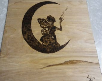 Wood Burning Fairy Faerie moon stars wings wall hanging plaque