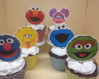 Sesame Street, Elmo, Abby Party Cupcake Topper Decorations - Set of 10