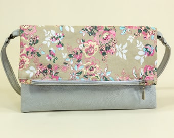 Spring sale Floral Fold over Clutch Bag Vegan Leather Fold over Bag Vegan Leather Clutch Flowering Plant Clutch Crossbody floral purse