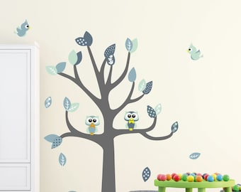 Wall decal tree with owls and birds (mint)
