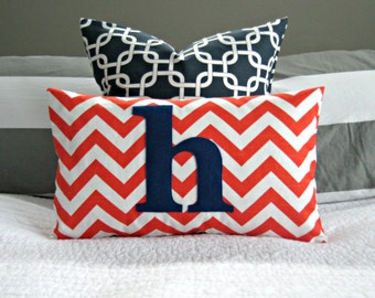 Monogrammed Lumbar Pillow Cover - Orange and White Chevron with Navy Monogram