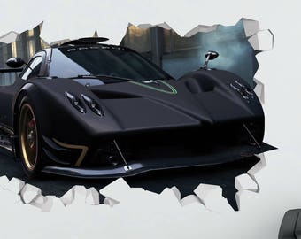 Car Pagani Huayra Black Wall Decal   Car Smashed Sticker   Car Sport 3D  Smashed Art