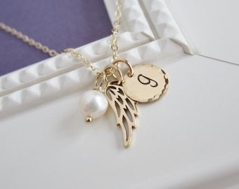 Graduation necklace, wing necklace, personalized gold initial, custom birthstone necklace, graduation gift, graduate, gold initial necklace