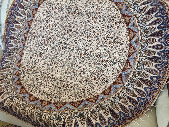 "Traditional original hand printed round tablecloth 60"", cotton tapestry with natural dyes and tassels, round tablecloth on wood table top"
