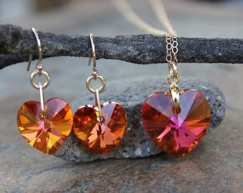Astral Pink Heart Gold Necklace & Earring set- fiery orange pink Swarovski crystal heart pendant on 14k gold filled chain- free shipping USA