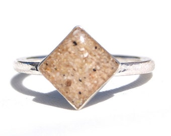 Sterling Silver Square Sand Ring, Sand Jewelry Capturing Your Memories.