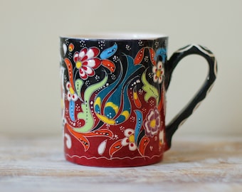 Red cup, teacup, mug, drinkware pottery, colorful pottery, pottery cup, gift pottery, coffee mug, handmade cup, tumbler, handpainted cup