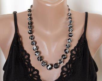 Boho necklace/black white handmade ceramic necklace
