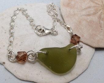 PEI Olive Green Sea Glass Bracelet (Beachcomber)