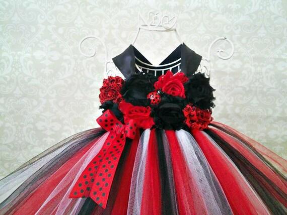 Cumpleaños de la mariquita Tutu vestido negro y rojo 1er
