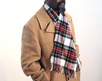 Red Plaid Scarf, Plaid Fringed Men's Scarf, Vintage Wool Scarf, Red White Blue Wool Scarf, Tartan Plaid Winter Scarf, Mens Winter Scarf