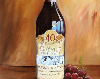 Caymus wine painting, Caymus 40th anniversary wine bottle with grapes and cork giclee print on canvas, Wine Cellar Decor, gift for dad