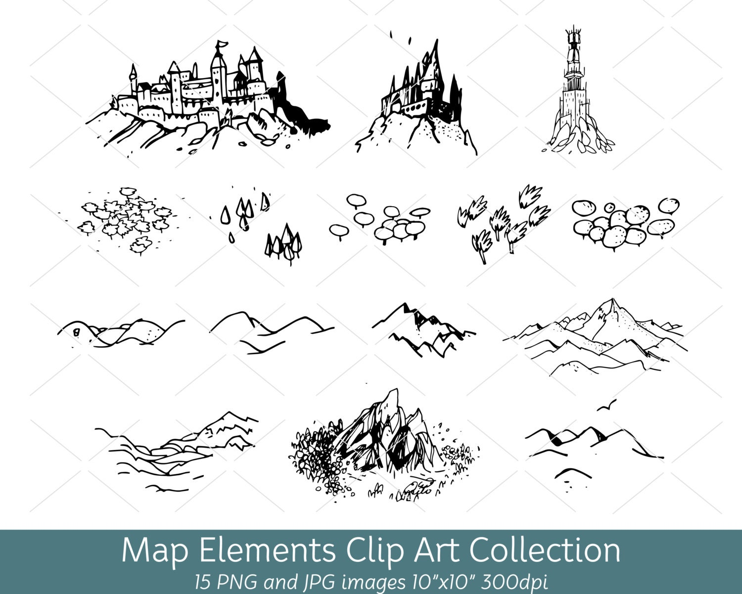 Hand drawn doodle map elements symbols mountain clip art zoom buycottarizona