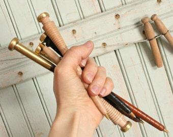 Bobbin Pen - Golden Brass Top Vintage Wood Spinning Fiber Arts Weaving Specialty Gift Spool Pen DIY Her