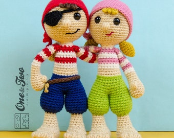 Pete and Penny the Pirates Amigurumi - PDF Crochet Pattern - Instant Download - Amigurumi crochet Cuddy Stuff Plush
