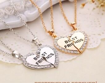 Best Friends Forever Heart Shape Pendant Friendship Necklace