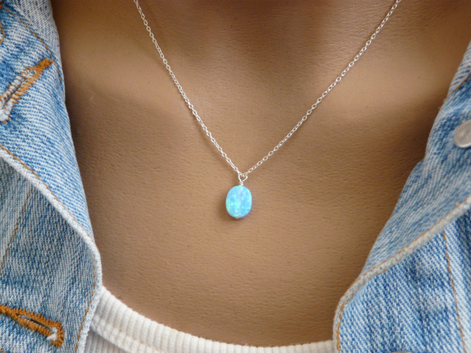 sterling jewelry blue item necklace hub lam created silver pendant luxury fong classic in zirconia drop opal shape from water necklaces