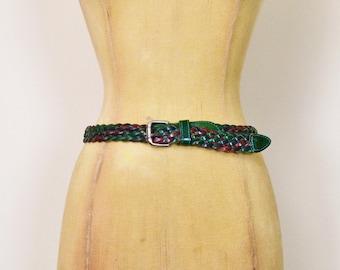 Vintage 70s 80s Green Belt Green Leather Belt Woven Leather Braided Leather Skinny Belt Cinch Waist Belt Boho Hippie Hippy Women S Small